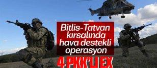 Bitlis-Tatvan kırsalında 4 terörist gebertildi