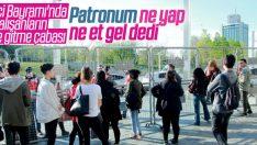 Taksim'de işe gitmek isteyenler polis bariyerini geçemedi