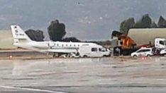 Bodrum'da özel uçak pistten çıktı