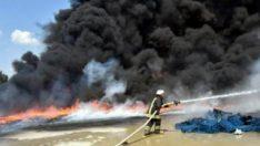 Manisa'da anız ateşi atölyeyi yaktı