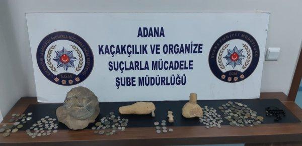 Adana'da araç motorunda tarihi eser kaçakçılığı