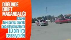 Konya'da düğün için drift konvoyu