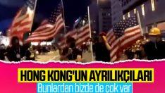 Hong Kong'ta göstericiler Amerikan bayrağı açtı