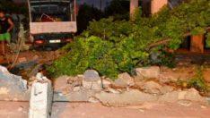 Kamyon evin bahçesine girince deprem etkisi yarattı
