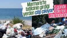 Marmaris'te tatilciler arkalarında tonlarca çöp bıraktı