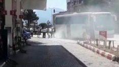 Safranbolu'da tur otobüsü yandı