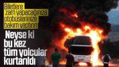 TEM'de seyir halindeki otobüs cayır cayır yandı