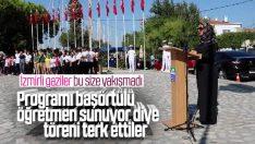 İzmir'de gaziler başörtülü sunucuyu protesto etti