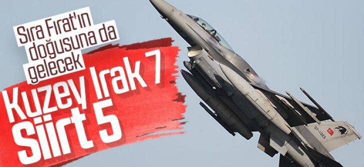 Kuzey Irak'ta 7 Siirt'te 5 terörist etkisiz hale getirildi