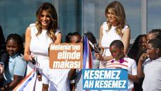 Melania Trump'ın makasla zor anları