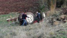 Bolu'da devrilen traktörün sürücüsü hayatını kaybetti