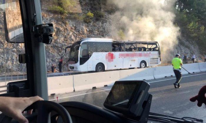 Muğla-Antalya yolunda yolcu otobüsünde yangın