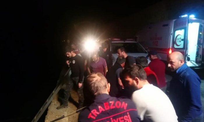 Trabzon'da otomobil dereye yuvarlandı: 1 ölü 2 yaralı