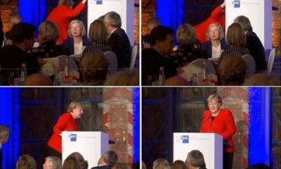 Angela Merkel, az kalsın düşüyordu