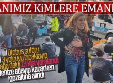 Beşiktaş'ta durağa dalan otobüsün görüntüleri yayınlandı