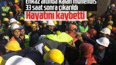 Cami enkazı altında kalan mühendis vefat etti