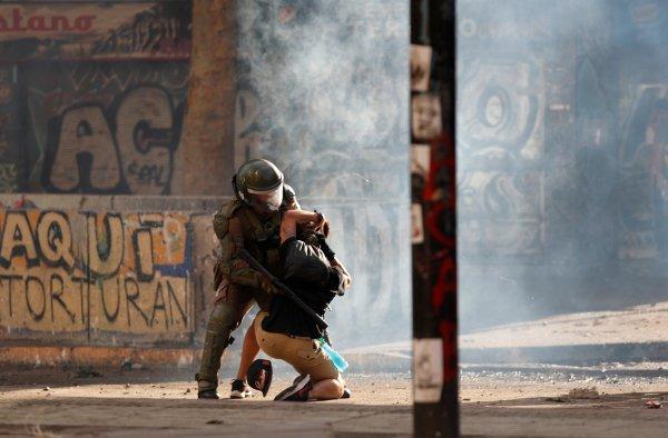 Şili eylemcileri direniş mesajı veriyor