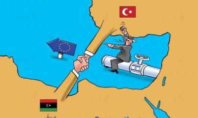 Arap karikatürist Türkiye Libya anlaşmasının karikatürünü yaptı