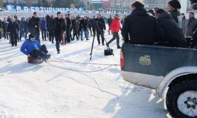 Erzurum Valisi'nin kar keyfi