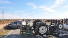 Gaziantep'teki zincirleme kazada traktör takla attı