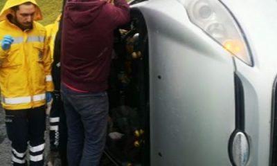 İstanbul'da TEM'de araç yan yattı :1 yaralı