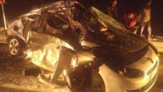 Kayseri'de otomobil ile yolcu otobüsü çarpıştı
