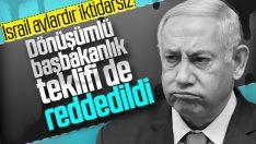Netanyahu'nun dönüşümlü başbakanlık teklifi de reddedildi