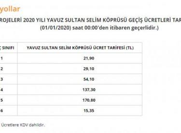 Köprü geçiş ücretlerine yüzde 14 zam