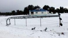 Mersin'de kar yağışı direkleri devirdi
