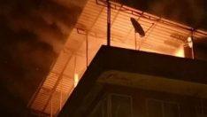 Yılbaşı eğlencesi sırasında binada yangın çıktı