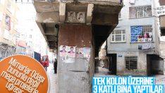 Diyarbakır'da tek kolon üzerine 3 katlı bina