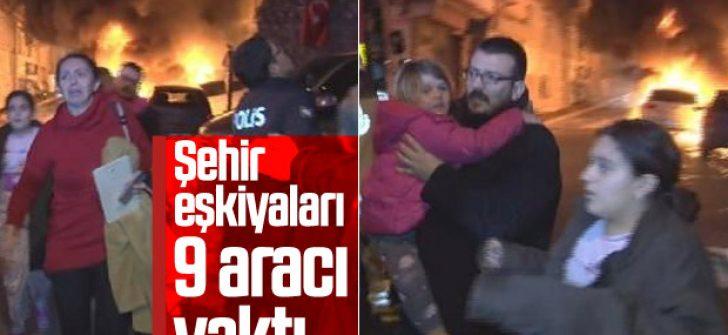 Fatih'te 9 otomobil kundaklandı