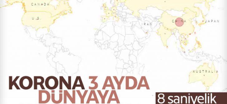 Koronavirüsün yayılımını gösteren harita
