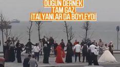 Zeytinburnu'nda bir grup vatandaş halay çekti