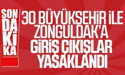 30 Büyükşehir ve Zonguldak araç giriş çıkışına kapatıldı