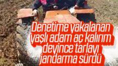Antalya'da yaşlı adamın tarlasını jandarma sürdü