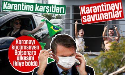 Brezilya'da karantinacı-karantina karşıtı protestoları