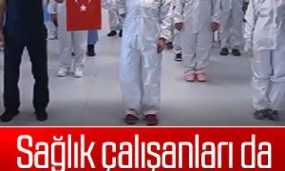 Yoğun bakım çalışanları İstiklal Marşı'nı hastanede okudu