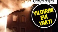 İstanbul Silivri'de çatışına yıldırım düşen evde yangın çıktı !
