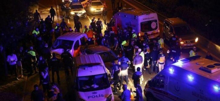 Ankara'da kontrol noktasında trafik kazası