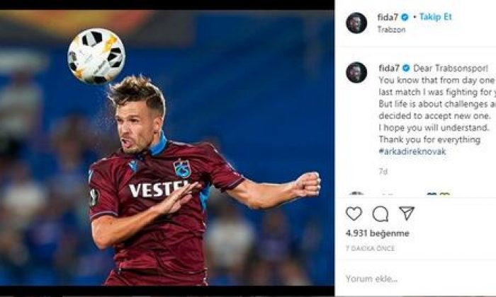 Novak, Trabzonspor'a resmen veda etti