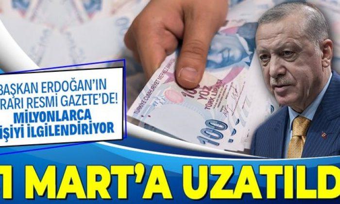 Başkan Erdoğan imzaladı: Kısa çalışma ödeneğinin süresi 31 Mart'a kadar uzatıldı!
