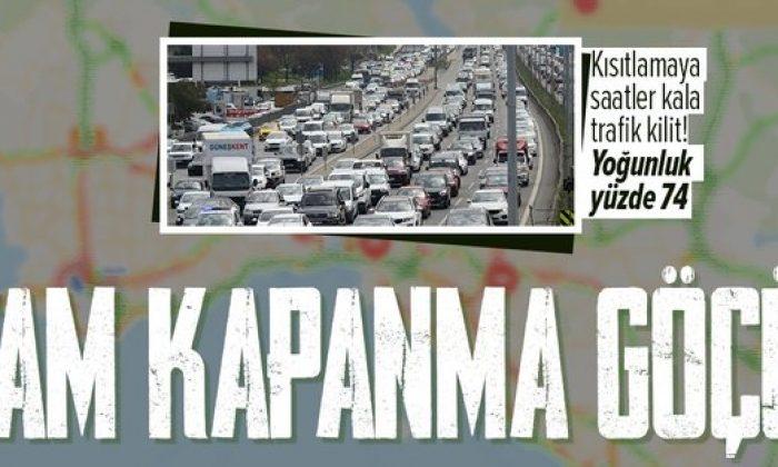 Tam kapanmaya saatler kala İstanbul'da trafik kilit!